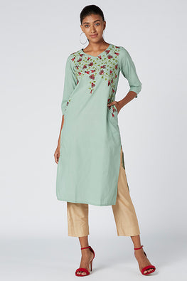 Okhai 'Gardenia' Cotton Embroidered Kurta