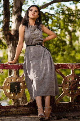 Creative Bee 'AMHARA' Handwoven Ruffled Applique Pure Cotton Sleeveless Dress