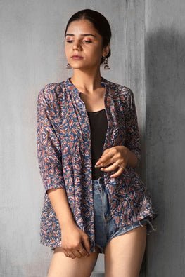 Creative Bee 'ARNO' Natural Dyed Hand Block Printed Cotton x Silk Gathered Jacket