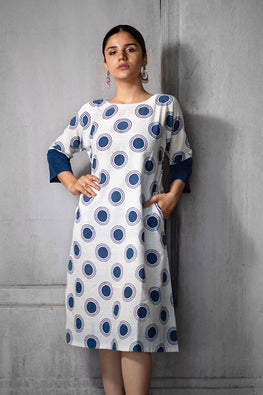 Creative Bee 'HILDA' Natural Indigo Dyed Hand Block Printed Pure Cotton Dress