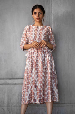Okhai Ikat Gathered Dress For Women Online