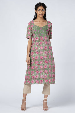 Okhai 'Lena' Embroidered Cotton Hand Block Print Kurta