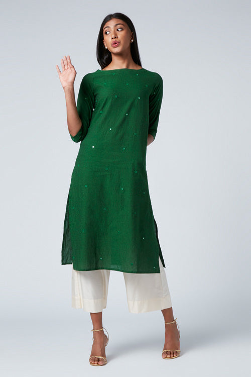 "Okhai ""Green Meadow"" Embroidery Work Kurta"