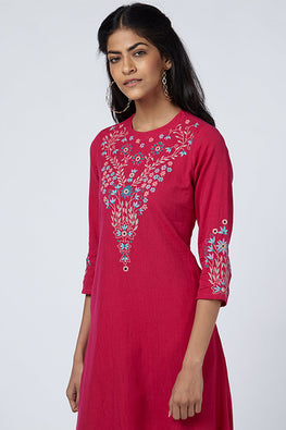 Okhai 'Gulmarg' Embroidered Cotton Handloom Dress