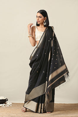 Okhai Cotton Handloom Black Maheshwari Silk Saree Online