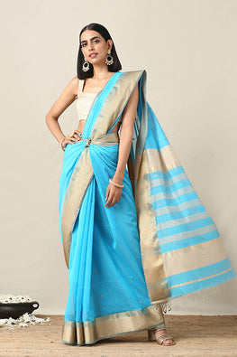 Buy Okhai Cotton Handloom Blue Maheshwari Silk Saree Online