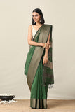 Okhai Cotton Handloom Green Maheshwari Silk Saree Online