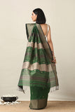 Handweave Maheshwari Handloom Green Silk Cotton Saree