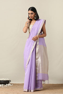 Okhai Cotton Handloom Purple Stripe Maheshwari Silk Saree Online