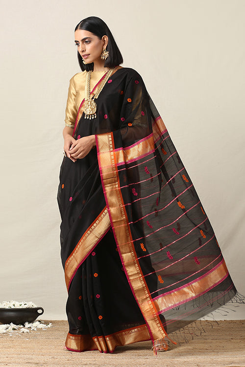 Okhai Cotton Handloom Black Zari Border Maheshwari Silk Saree Online