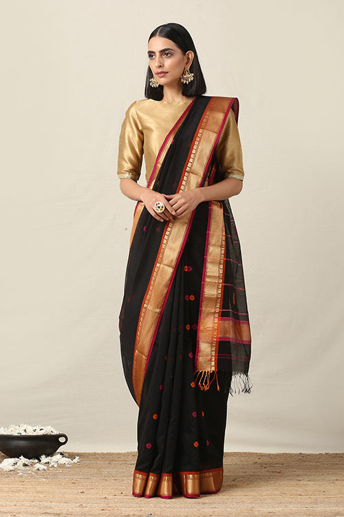 Handweave Maheshwari Handloom Black Zari Border Silk Cotton Saree