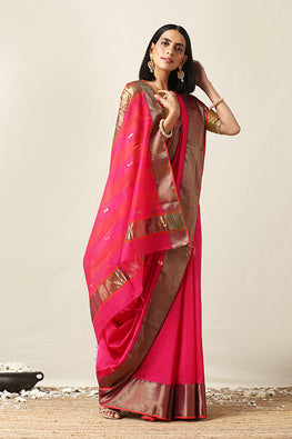 Okhai Cotton Handloom Orange Maheshwari Silk Saree Online