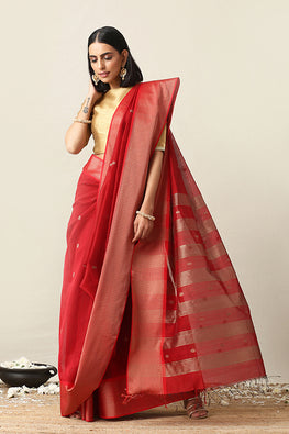Handweave Maheshwari Handloom Red Zari Border Silk Cotton Saree