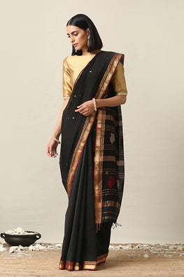 Handweave Maheshwari Handloom Black Butti Zari Border Silk Cotton Saree