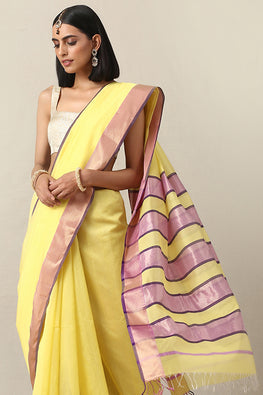 Handweave Maheshwari Handloom YEllow and Lilac Silk Cotton Saree