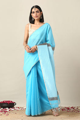 Handweave Maheshwari Handloom Sky Blue Silk Cotton Saree