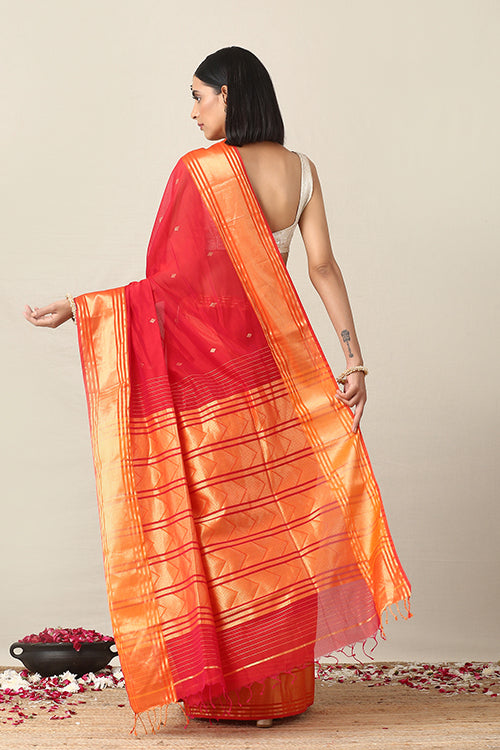 Handweave Maheshwari Handloom Orange Red Silk Cotton Saree