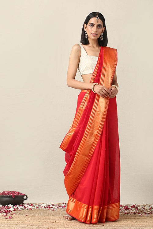 Okhai Cotton Handloom Orange Red Maheshwari Silk Saree Online