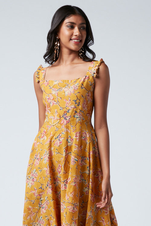 Okhai 'Helena' Cotton Hand Block Print Dress