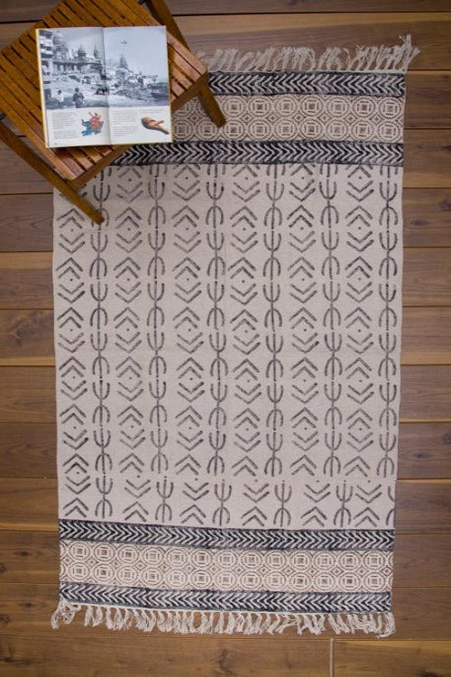 Hand block printed rug 5 by 3