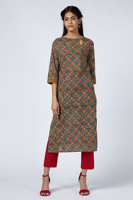 Okhai 'Delight' Cotton Block Print Kurta