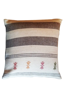 Chokhla' Wool Extra Weft Thick Stripes and Motifs Cushion Cover by Rangsutra