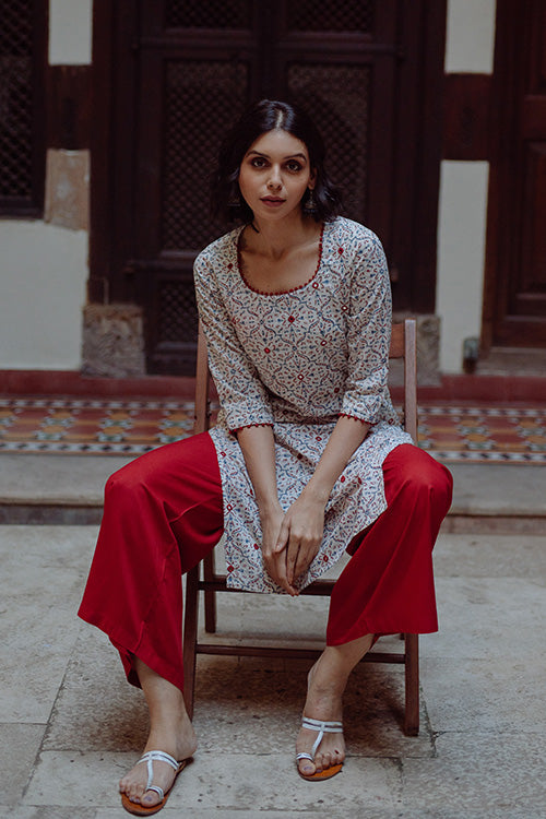 Okhai 'Ether' Embroidered Cotton Hand Block Print Kurta