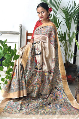 Madhubani Paints Ramayan Madhubani Handpainted Saree
