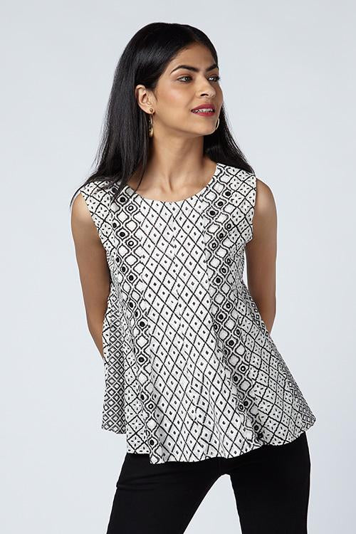 Okhai 'Melange' Embroidered Cotton Hand Block Print Top