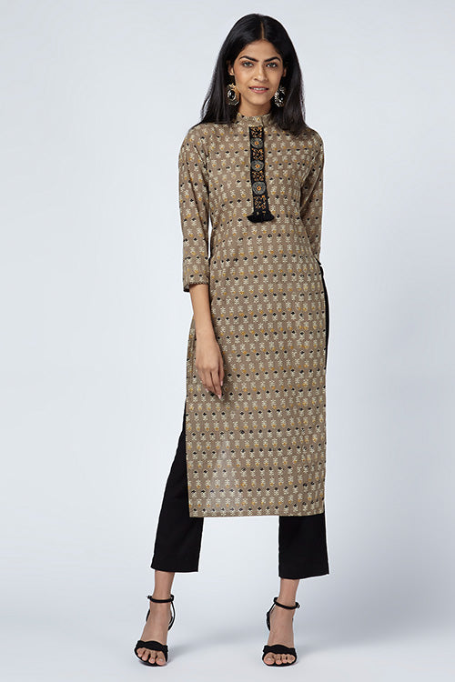 Okhai 'Misha' Embroidered Ajrakh Cotton Kurta