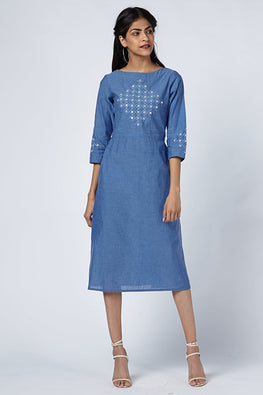 Okhai 'Aqua Shimmer' Mirror Work Cotton Kurta