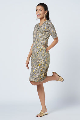Okhai 'Olivia' Embroidered Hand Block Print Cotton Dress