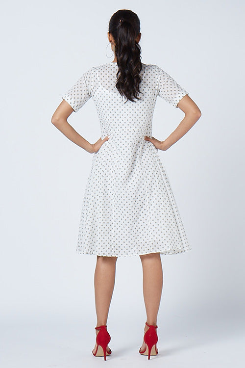 Okhai 'Polka Love'  Hand Block Print Cotton Mul Dress