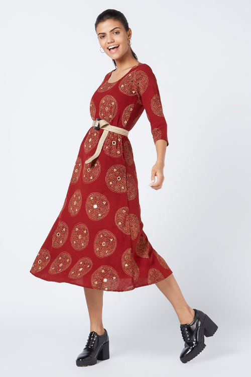 Okhai 'Creative' Blockprint Embroidered Cotton Dress