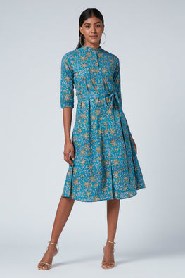 Okhai 'Romantic' Cotton Hand Block Print Dress