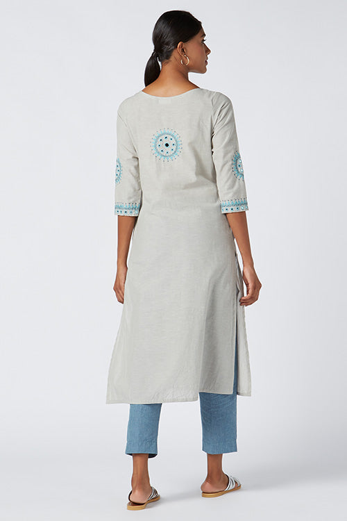 Okhai 'Serenity' Embroidered Cotton Kurta