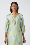 Okhai 'New Leaf' Ikat Silk Blend Kurta