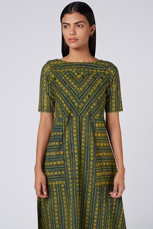 Okhai 'Sofie' Embroidered Hand Block Print Cotton Dress