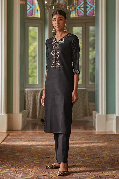 Okhai 'Star Sparkle' Zardozi Cotton Satin Kurta