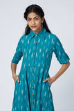 Okhai 'Turquoise' Cotton Ikat Shirt Dress