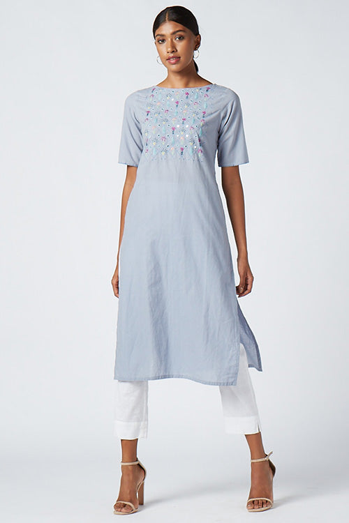 Okhai 'Teresa' Cotton Embroidered Kurta