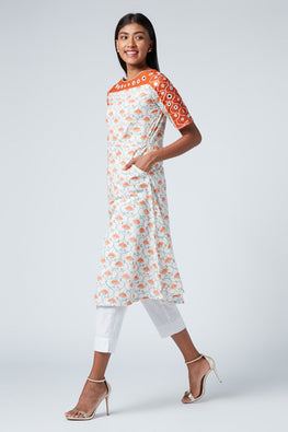 Okhai 'Venus' Embroidered Cotton Hand Block Print Kurta