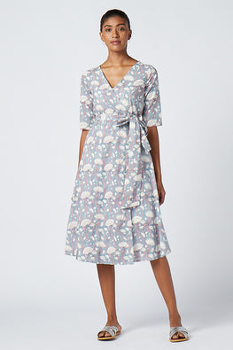 Okhai 'Embrace' Cotton Hand Block Print Wrap Dress