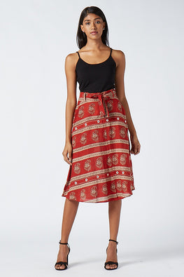 Okhai 'Fiesta' Cotton Hand Block Print Skirt