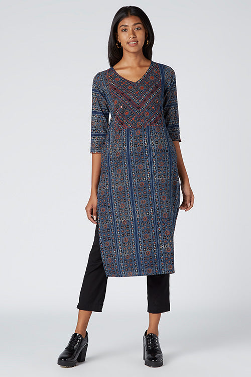 Okhai 'Manifest' Embroidered Cotton Ajrakh Kurta