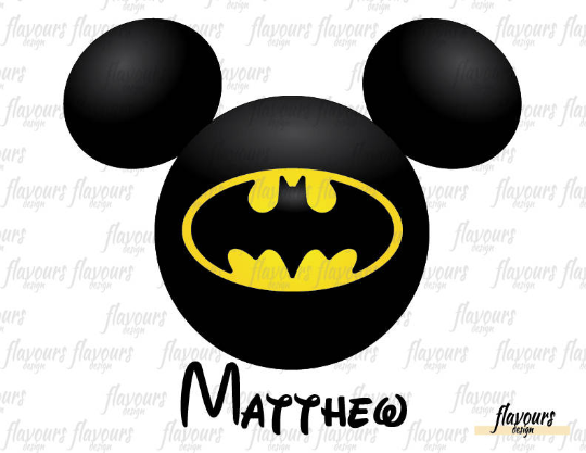 Batman Mickey Ears - Disney - Digital Files Printables - Iron On Transfer - JPG Files