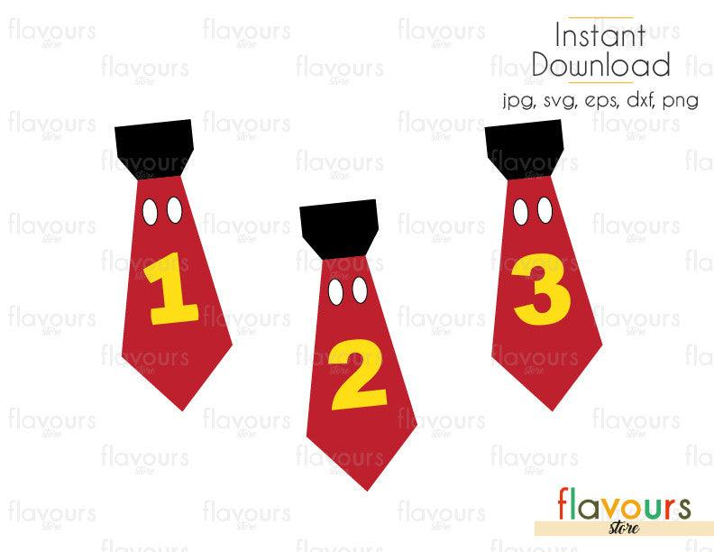 Mickey Mouse Tie - Birthday Party - Cuttable Design Files (Svg, Eps, Dxf, Png, Jpg) For Silhouette and Cricut
