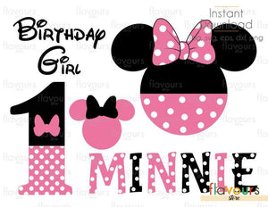 1st Birthday Minnie Pink Set - Disney - Cuttable Design Files (Svg, Eps, Dxf, Png, Jpg) For Silhouette and Cricut