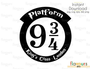 Platform 934 King's Cross - Harry Potter - Cuttable Design Files (Svg, Eps, Dxf, Png, Jpg) For Silhouette and Cricut