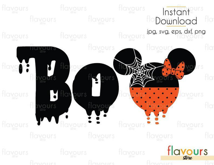 Minnie BOO Ears Halloween - Cuttable Design Files (Svg, Eps, Dxf, Png, Jpg) For Silhouette and Cricut
